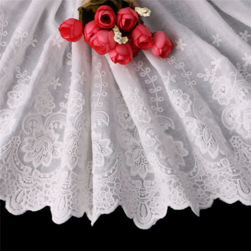 1yd Cotton Fabric Lace Tulle Floral Embroidered Bridal Dress Wedding Craft DIY