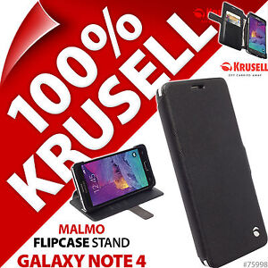 New Krusell Malmo Flip Stand Case For Samsung Galaxy Note 4 Black Cover Wallet