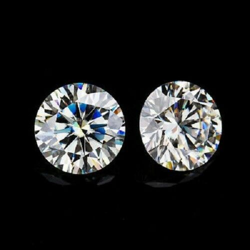 8.30 mm 2 ct Pair Of Near White Loose Moissanite Round Cut Stone