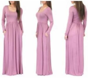 Rags-amp-Couture-Medium-Mauve-Long-Sleeve-Ruched-Full-Length-Dress-with-Pockets