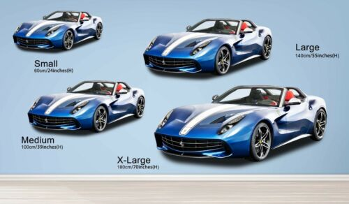 Details about  /3D Blue Convertible R37 Car Wallpaper Mural Poster Transport Wall Stickers Zoe