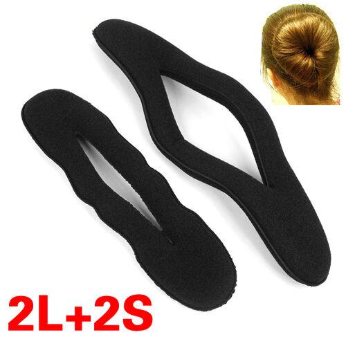 4 pcs Magic Sponge Clip Foam Donut Hair Styling Bun Curler Maker Tool Ring Twist