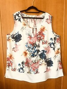 beme-NEW-Floral-Flared-Sleeveless-Top-Size-18