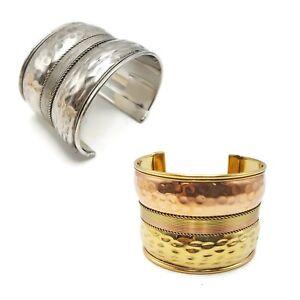 Ornate-Brass-Cuff-Three-Tone-Gold-Wide-Metal-Ethnic-Gauntlet-Gypsy-Cuff-Bracelet