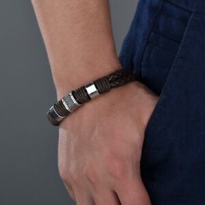 Fashion-Men-Woman-Black-Brown-Alloy-Leather-Bracelet-For-Male-Cuff-Wristband-New