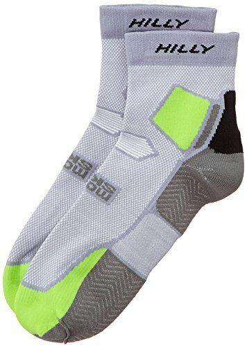 Hilly Skyline Lightweight Running Socks Grey//Lime Green//Black *NEW*