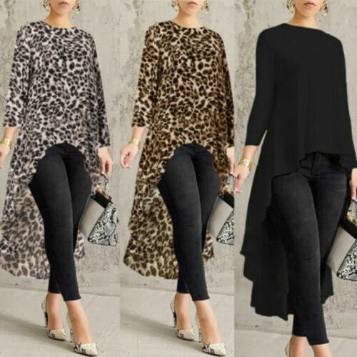 Women Blouse Shirt Tops Asymmetrical Sleeve Long High Low Size Waterfall Plus US