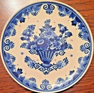 1749 Delft Hanging Wall Plate 18th Century Antique Blue White Flower In Vase Ebay