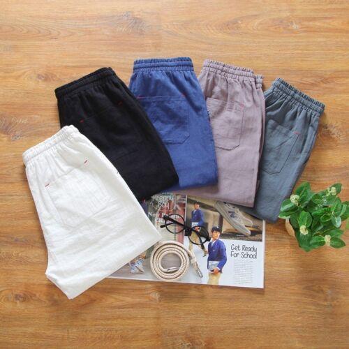 Men Linen Short Pants Cotton Trousers Casual Loose Summer Knee Length Drawstring