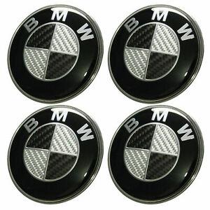 BMW-Set-of-4-Emblems-65mm-Hub-Alloy-Wheel-Centre-Caps-Badges-Curved-Black-Carbon