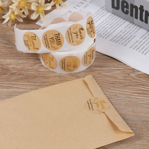 500pcs thank you for supporting my business Kraft Stickers Gold Foiled SticODUS