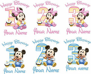 Minnie Mickey Mouse Baby Birthday Age Iron On Tshirt Fabric Transfer