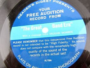 Details about Readers Digest THE GREAT BAND ERA Vaughn Monroe free audition  R/TBA flexi Record