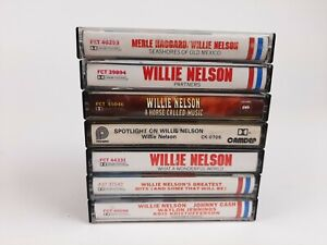 Lot-of-7-WILLIE-NELSON-Cassette-Tapes-The-Man-The-Myth-The-Legend-Free-Ship