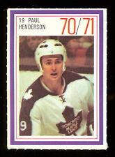 1970-71 ESSO POWER PLAYERS NHL 19 PAUL HENDERSON EX-NM MAPLE LEAFS UNUSED STAMP