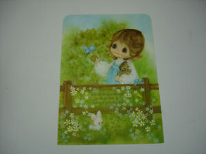 Hallmark-Charmers-Die-Cut-Pop-Up-Mother-039-s-Day-Greeting-Card-USA-VTG-Girl-Pupppy