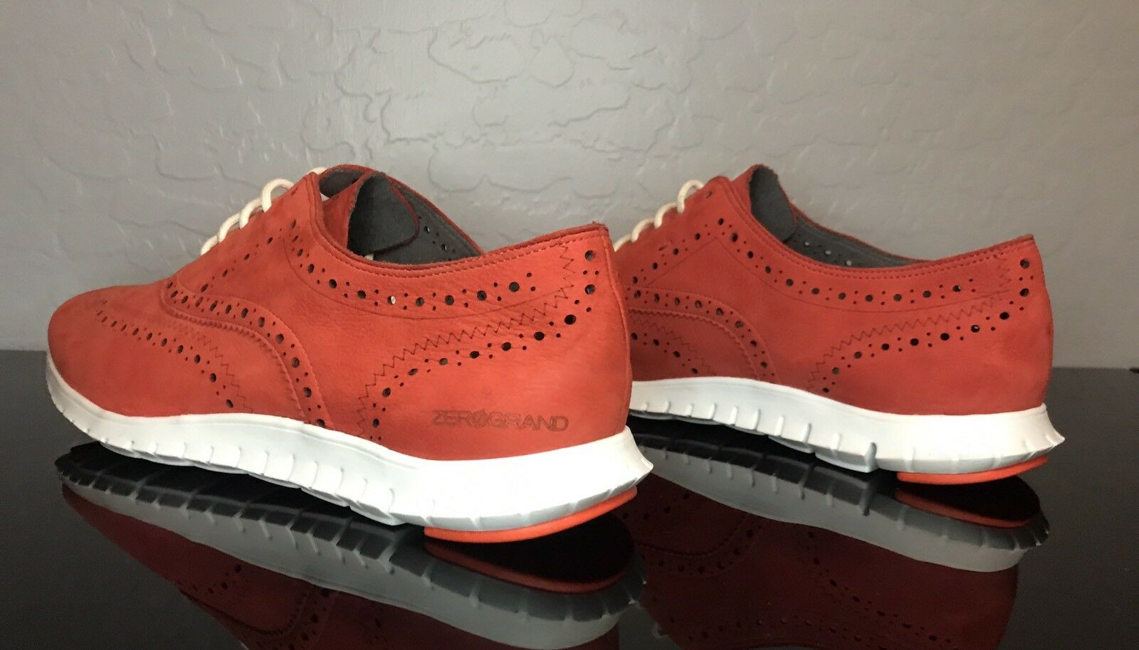 Women's  Cole Haan Wingtip Zerogrand OS OS OS  Citrus Red Nubuck White SIZE 11 72525d