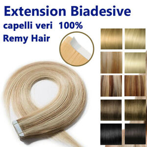 20-ciocche-EXTENSION-BIADESIVE-REMY-HAIR-capelli-umani-VERI-100-53cm-50-GRAMMI