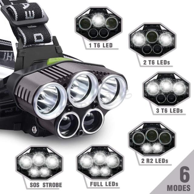 100000LM 5 LED Rechargeable Headlamp USB Headlight Torch Flashlight Lamp NEW