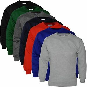 Mens-Plain-Sweatshirt-Jersey-Jumper-Sweater-Pullover-Work-Casual-Leisure-Top