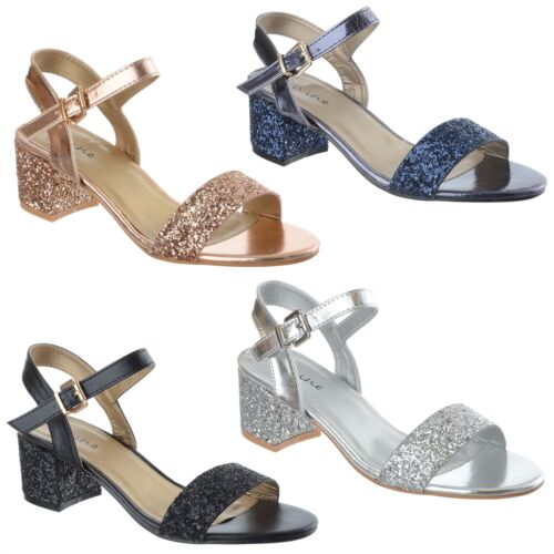 Ladies Womens Low Block Heel Party Bridal Glitter Sandals Wedding Shoes Size