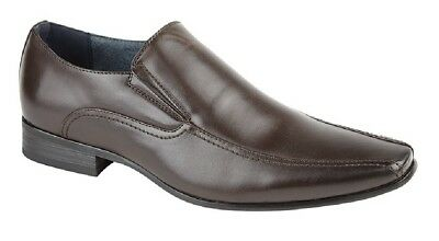 Mens Route21 Square Toe Slip On Smart Shoes Brown PU