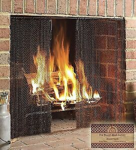 Midwest Hearth Fireplace Screen Mesh Curtain 2 Panels Each 24in Wide