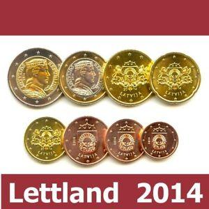 Kursmünzensatz Lettland 2014 1c 2 Euromünzekms Alle 8 Münzen Satz