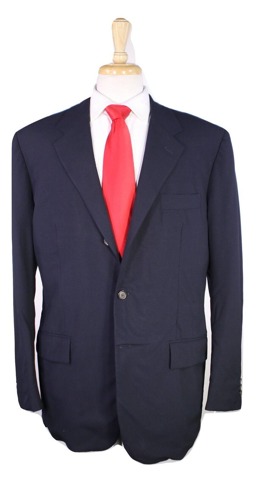 PRADA  Solid Dark Navy bluee 3-Btn Wool Modern Fit Suit 42R