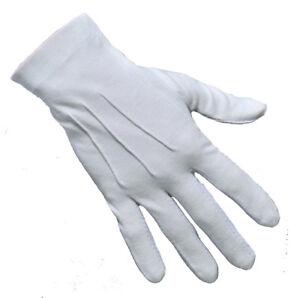 Drumming Gloves White Cotton Multi Purpose Ceremonial 3 Ribbed White Gloves
