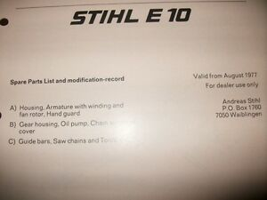 stihl e10 chainsaw spare parts list early,stihl chainsaw,vintage