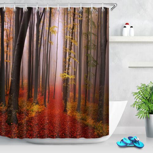"72X72/"" Autumn Forest in Dusk Shower Curtain Waterproof Fabric Bath Curtains Mat"