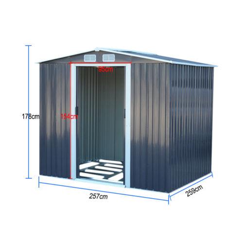Metal Garden Storage Shed Apex//Pent Galvanised Heavy Duty Steel Tool Store House