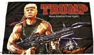 Rambo Trump Make America Great Again flag 3 x 5  Machine Gun MAGA Trump 2020 RPG
