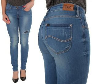 Lee-Damen-Jeanshose-Scarlett-Skinny-Blau-Patched-Bandana-Vinatge-W26-W30