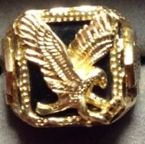 Mens 10K Yellow Black Hills Gold Harley Davidson Ring 9 Eagle Black