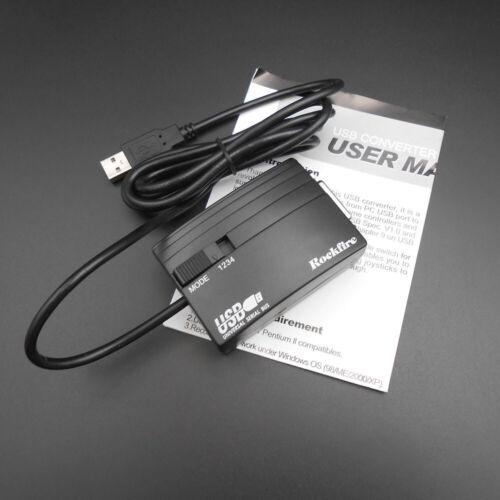 Green Rockfire 15 Pin Joystick To USB Adapter MIDI Game Nest Converter Black