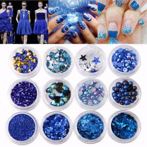 Nail-Art-3D-DIY-Blue-Rhinestones-Jewelry-Pearl-Mix-Nail-Art-Decoration-Glitter