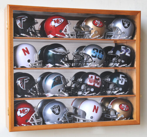 NFL MLB 16 Mini Football Helmet Display Case Cabinet Wall Rack Box Lockable