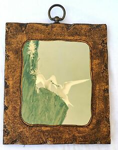 1950s Vintage Two Seagulls on the Cliff Wall Art Picture with Rustic Brown Frame