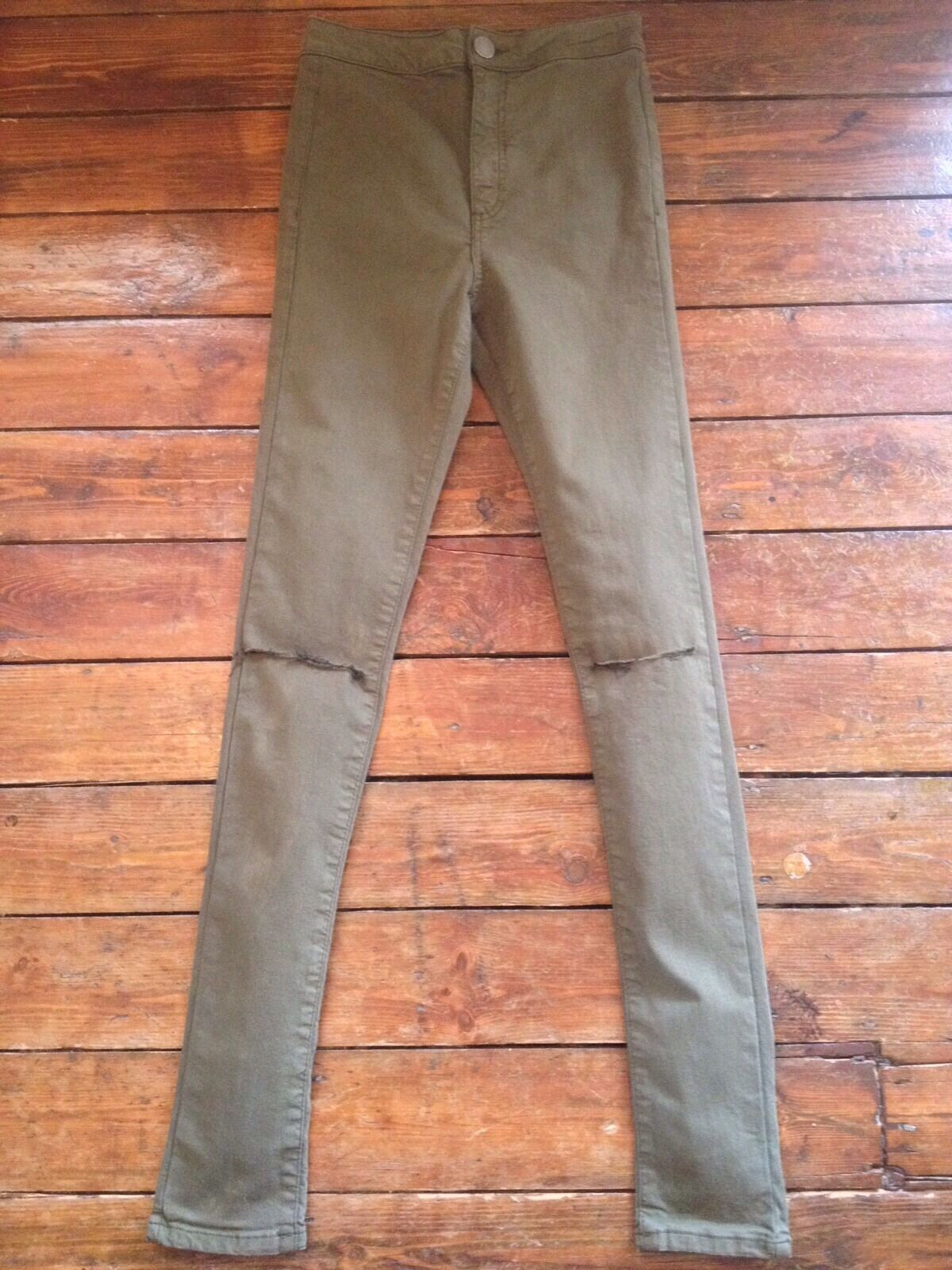 Miss Selfridge Steffi Khaki Ripped Super High Waist Jeans Jeans Jeans New  Sz 14 R Nn16 | Sofortige Lieferung  | Sehr gute Farbe  | Das hochwertigste Material  | Zuverlässige Leistung  | Verschiedene Arten Und Die Styles  9a5842
