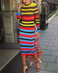Image Is Loading Opening Ceremony Striped Ribbed Knit Midi Dress