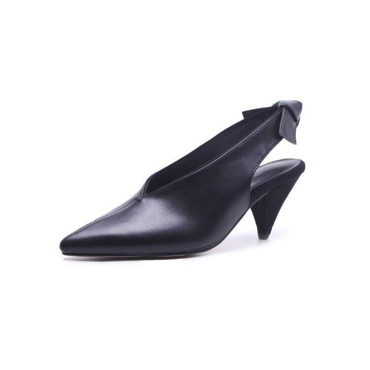Women's Pointy Toe Kitten Heel Heel Heel Slingbacks Elegant OL Real Leather Pumps shoes Sz a91f07