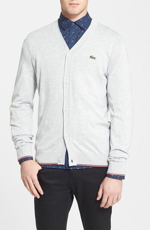 Lacoste Men Fashion L ve Casual Lightweight Jersey Fancy Cardigan Sweater AH2638