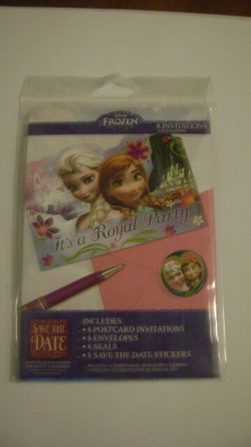 DISNEY FROZEN ANNA ELSA PARTY SUPPLIES INVITATIONS PACK OF 8 INVITES, STICKERS