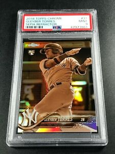 GLEYBER-TORRES-2018-TOPPS-CHROME-31-SEPIA-REFRACTOR-ROOKIE-RC-PSA-9-YANKEES