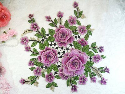BL98X Embroidered Floral Applique Mirror Pair Light Lavender Clothing Patch