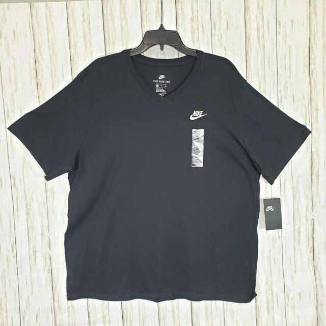 New Nike Black T Shirt Mens Size XXL The Nike Tee 2XL Athletic Cut V Neck Nwt