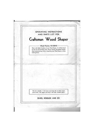 1982 Craftsman 113.239201 Wood Shaper Instructions Manuals ...