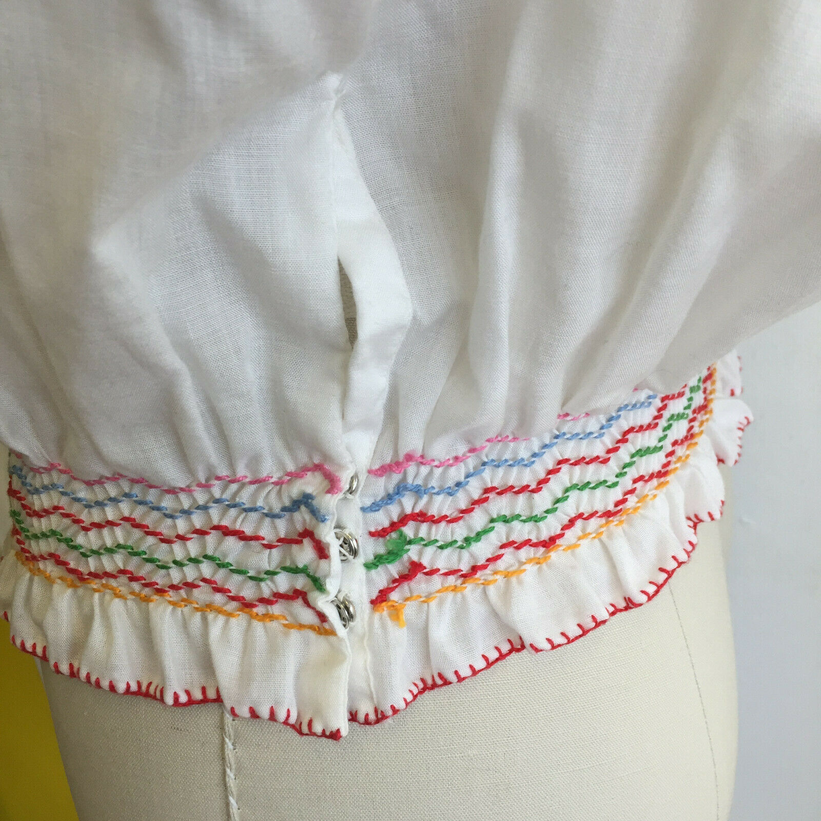 Vintage Hungarian Blouse Unworn Embroidered Peasa… - image 5